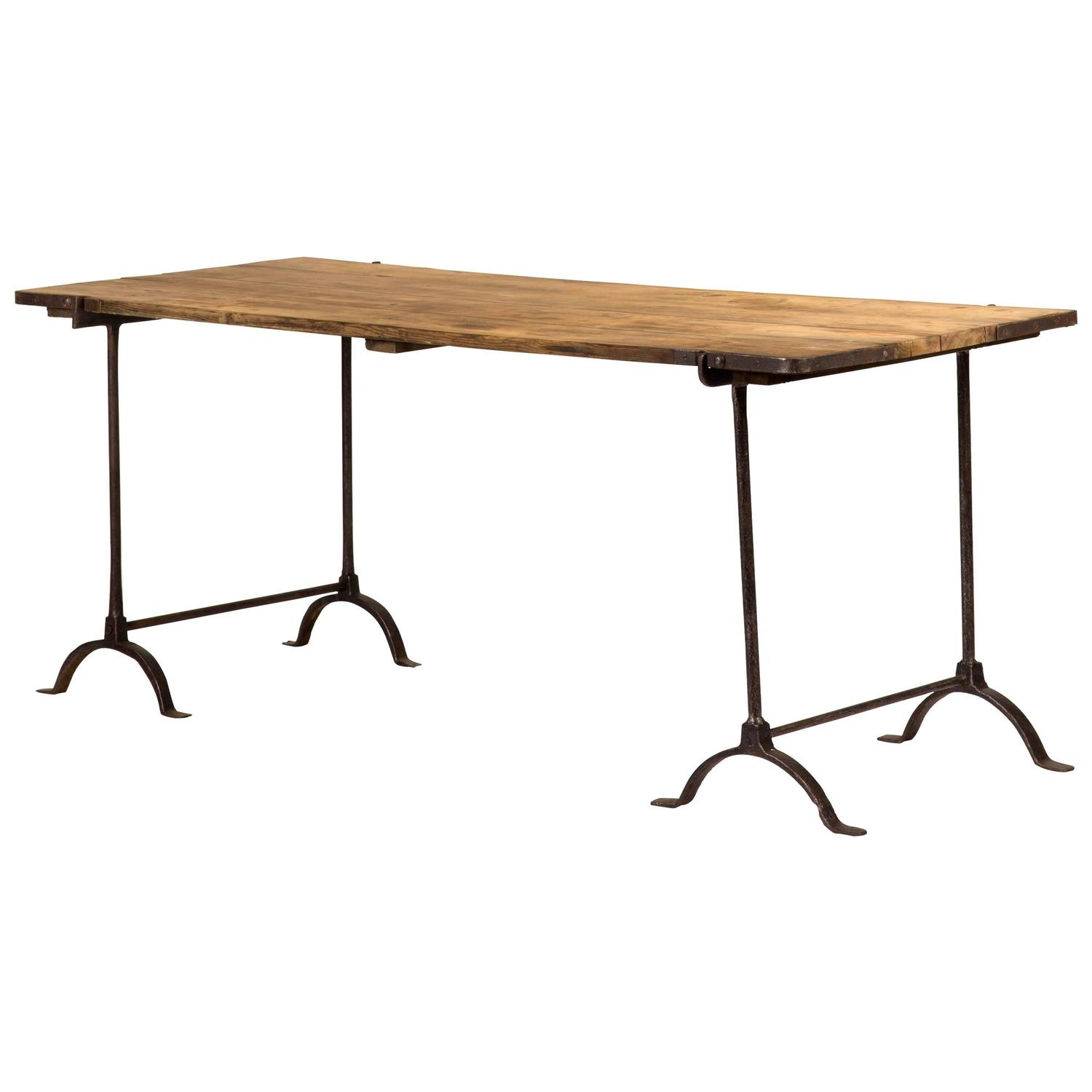 Oakwood Topped Trestle Table with Iron Legs For Sale at 1stdibs