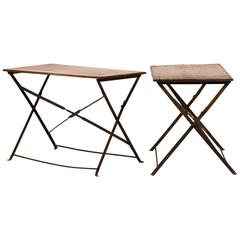 Pair of Early 20th Century British Campaign Wood and Iron Folding Tables