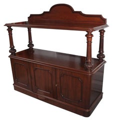 English Serving Console or Sideboard of Mahogany with Turned Supports