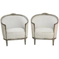 Antique Pair of Swedish Art Nouveau Bergere Chairs with Barrel Backs