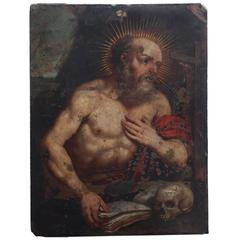 Oil Painting on Copper of Saint Jerome