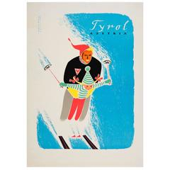 Original Vintage 1950s Skiing Poster, Tyrol Austria, Featuring a Skier and Girl