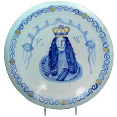 English Delftware Royal Portrait Charger of William 111, Brislington Bristol En