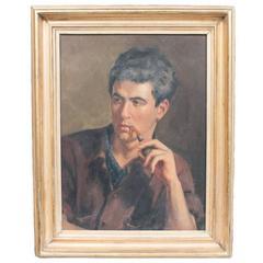 Oil on Board, Portrait of Andrea De Zerega by Louis Di Valentin, USA, 1907-1982