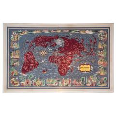 Air France Lithograph 'Planisphere,' 1961
