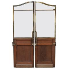 Pair of 1900 Banque de France Oak and Bronze Swing Doors 1900s