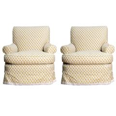 Pair of Large Scaled Club Chairs in Fortuny Fabric