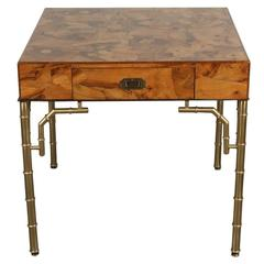 Hollywood Regency Burl and Brass Desk or Dressing Table