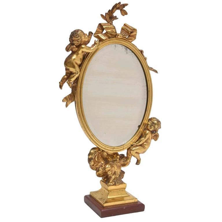 19th Century Dore Bronze Cupid Vanity Mirror For Sale