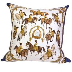 Hermès 'Reprise' Silk Scarf Pillow with Camel Cashmere Backing