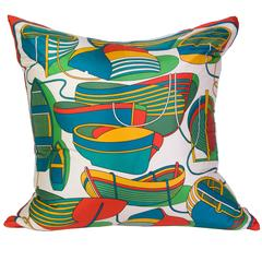 Hermès 'THALASSA' Silk Scarf Pillow with White Cashmere Backing