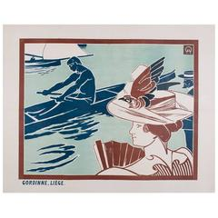 Belgian Turn of the Century Regatta Poster by Auguste Donnay, 1895