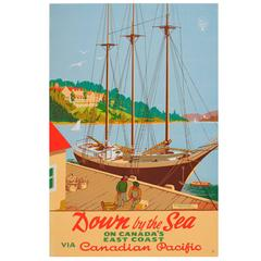 Original Vintage Canadian Pacific Poster - Down by the Sea - Digby Pines Hotel