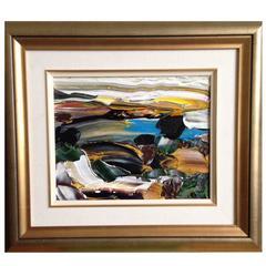 Abstract Acrylic Siesta Sunrise Big Sur Acrylic on Canvas Painting
