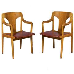 Oak Dining Armchairs by Bjorn Engo from Sweden, Pair