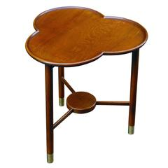 Sculptural Danish Trefoil Top Occasional Table in Oak