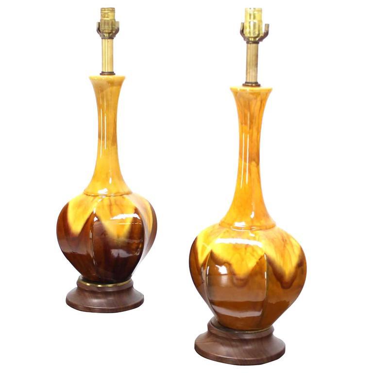 Pair of Mid-Century Modern Drip Glaze Glazed Pottery Walnut Bases Table Lamps