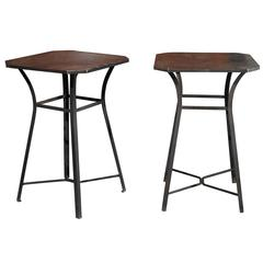 Pair of French Burnished Steel Industrial Side Tables from the 1920s