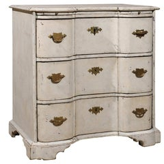 Danish Mid 18th Century Three-Drawer Painted Wood Commode with Serpentine Front