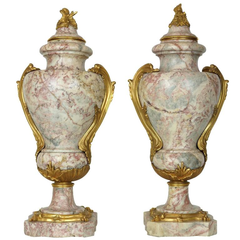 Pair of Louis XV Style Gilt Bronze and Marble Urns