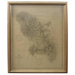 19th Century Nautical Chart of Martinique