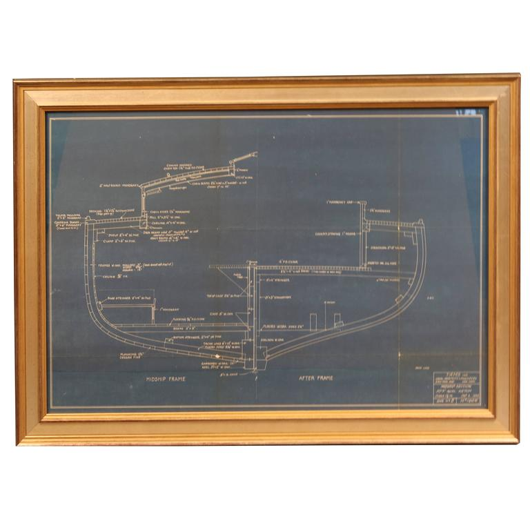 Original yacht blueprint early 20th century for sale at for Old blueprints for sale