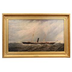 19th Century Oil on Canvas of a Steam Yacht Underway