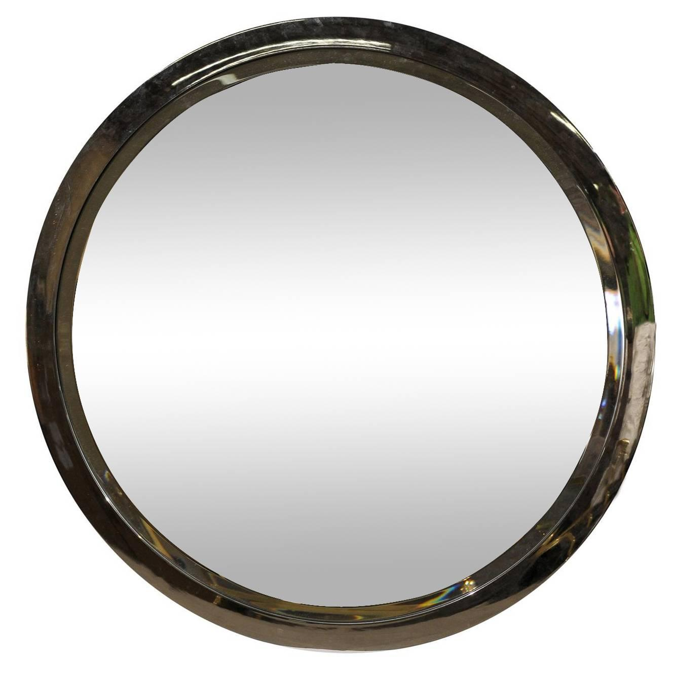 Large chrome round mirror possibly milo baughman circa for Big circle mirror