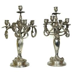 Wonderful Pair of Art Nouveau Silver Plated Candelabra in Style of Christofle