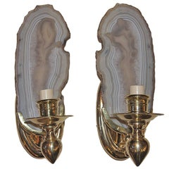 Mid-Century, Moderne Style Agate Sconces
