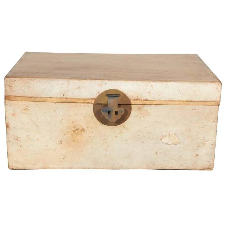 Antique Chinese Parchment Leather Trunk