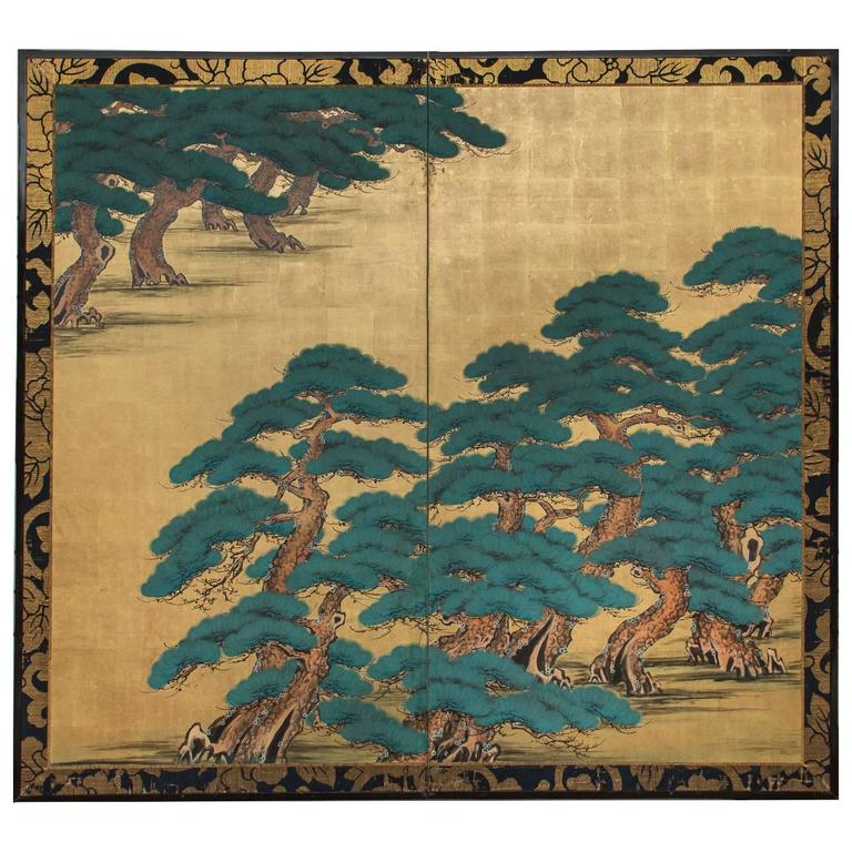 Japanese Two Panel Screen: Hammatsu Island