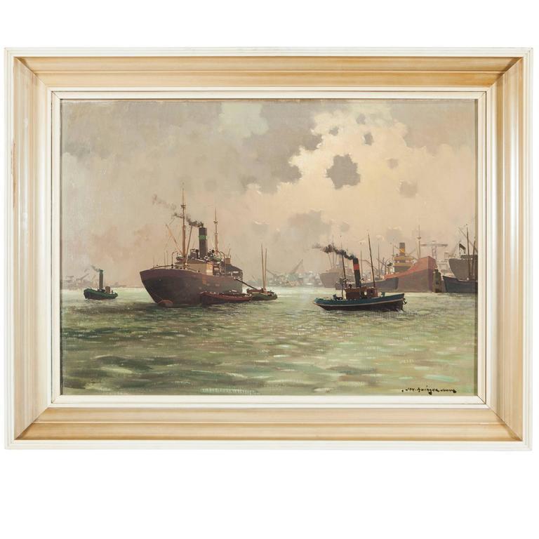 Dutch Harbour Painting by Jan Knikker Jr