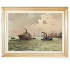 Dutch Harbour Painting by Jan Knikker Jr