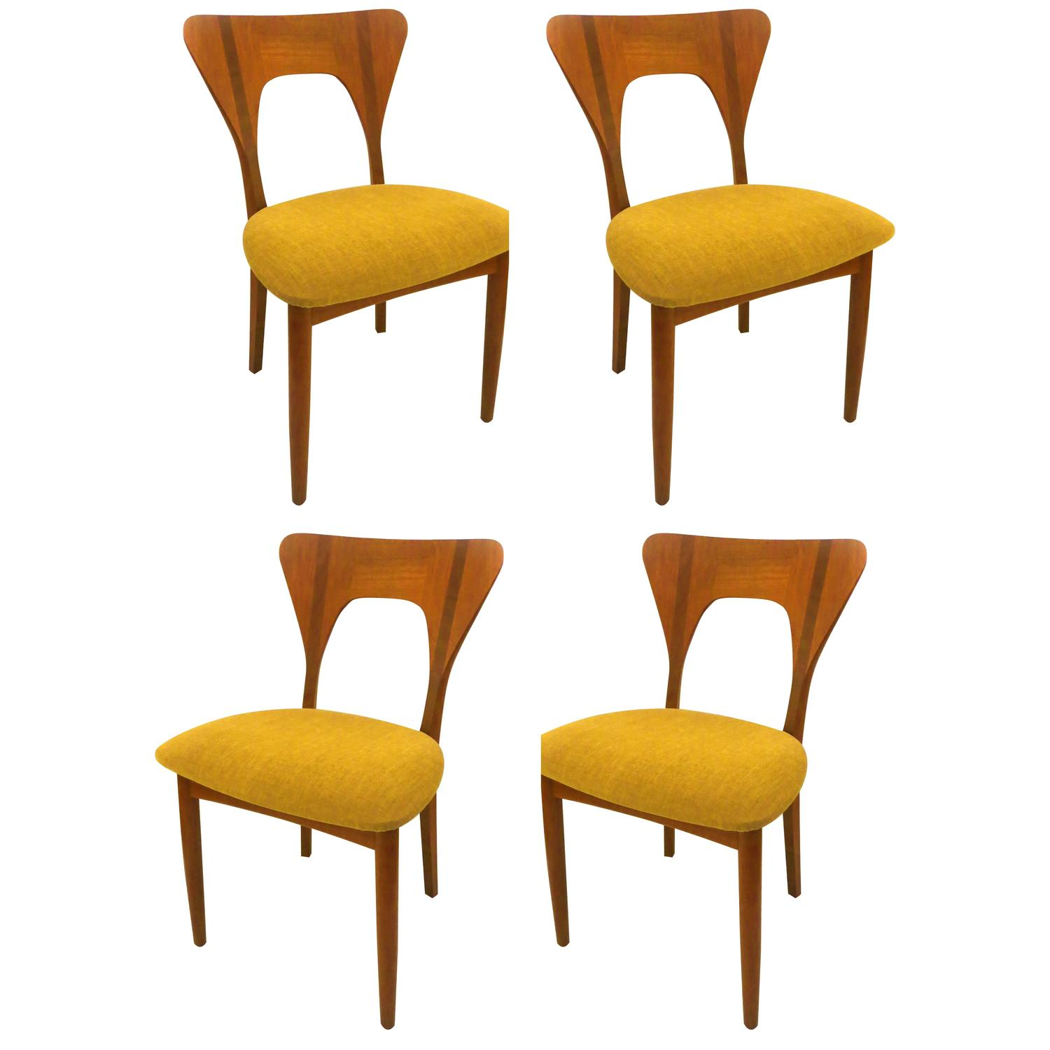 Set Of Four Danish Modern Solid Teak Dining Chairs Designed By Nils