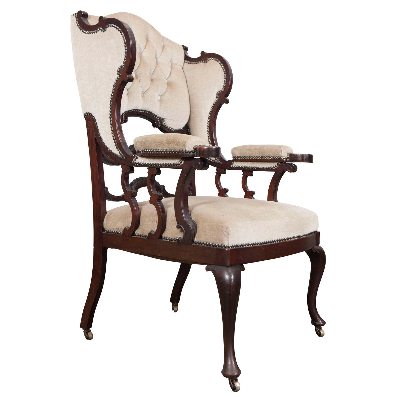 mahogany wingback armchair for sale at 1stdibs. Black Bedroom Furniture Sets. Home Design Ideas