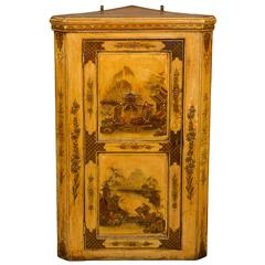 George I White-Japanned Hanging Corner Cupboard