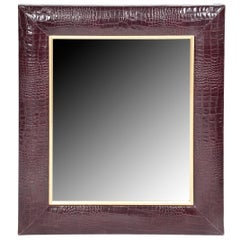 Bordeaux Croc Embossed Leather Framed Mirror with Champagne Gold Detailing
