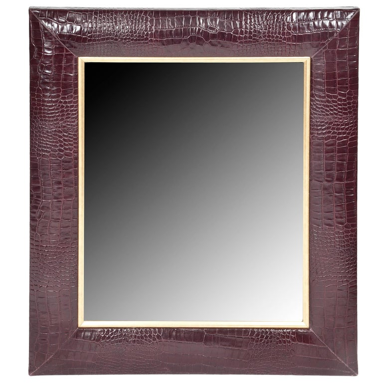 Bordeaux Croc Embossed Leather Framed Mirror with Champagne Gold Detailing For Sale