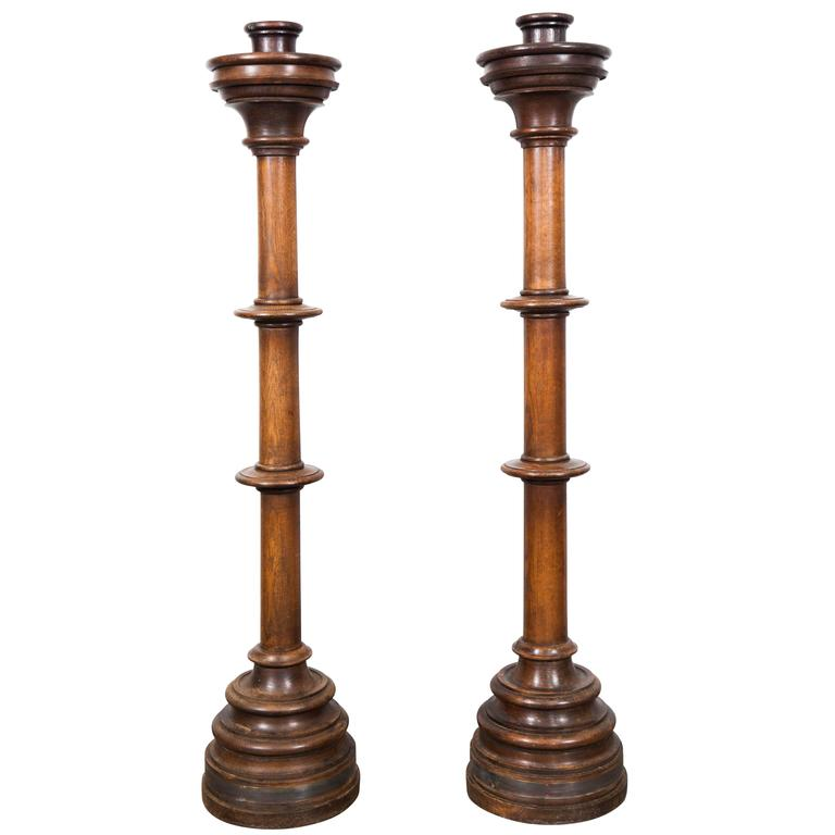 Pair of Large Wooden Candle Holders