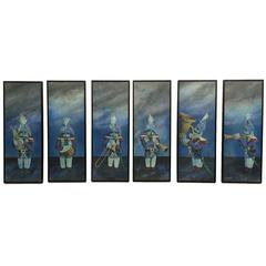 Set of Six Naive Paintings of French Soldiers Playing Instruments