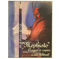 Original 1912 Advertising Poster for Mephisto L&C Hardtmuth 'Koh-i-noor' Pencils