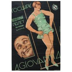 Original 1929 Avant Garde Poster for a Soviet Circus Trapeze Act, 4 Giovanni 4