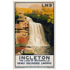 London Midland and Scottish Railway LMS Poster, Ingleton Waterfalls