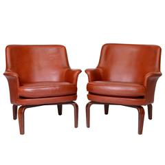Pair of Arne Norell Leather Lounge Chairs