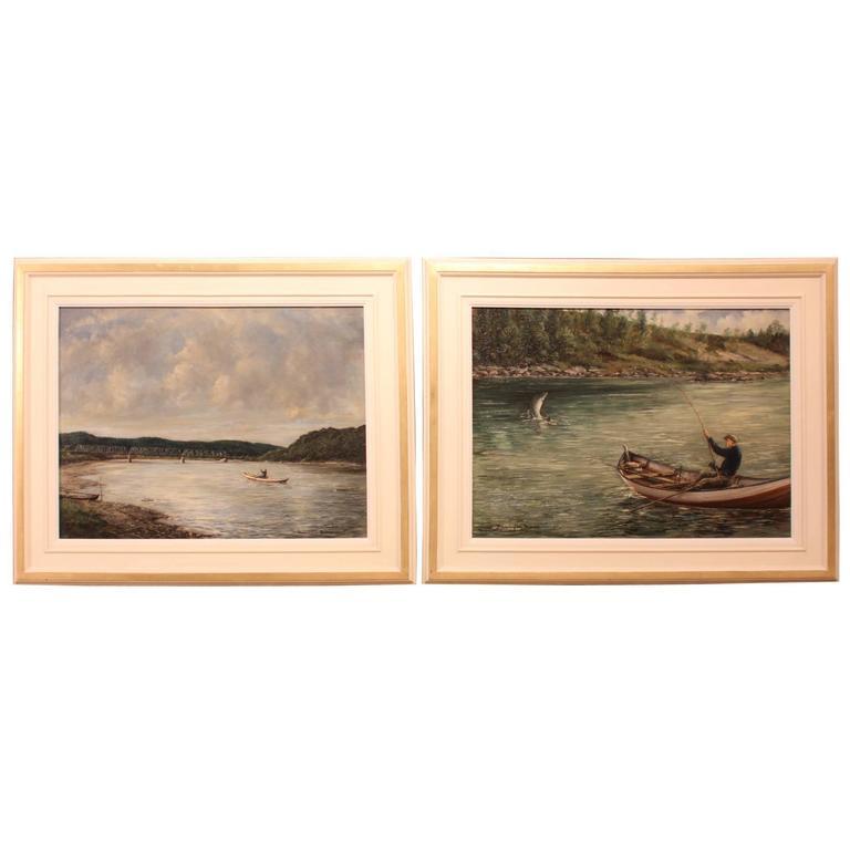 "Pair of Oil Paintings ""Landing the Catch"" by William Ellis Barrington-Browne"