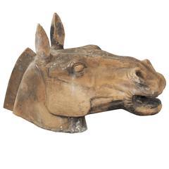 18th Century Italian Etruscan Horse's Head Sculpture, circa 1780