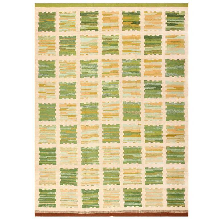 Modern Swedish Inspired Kilim Rug For Sale