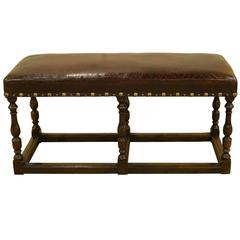 18th Century Oak Leather-Topped Stool