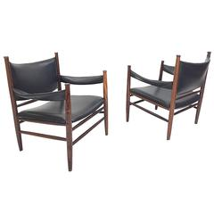 Exceptional Pair of Rosewood Safari Lounge Chairs